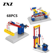 ZXZ Toy Mechanical Engineering Series Lifter Crane Swivel Chair Plastic Building Blocks Model Kids Toys 68pcs/set(China)