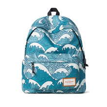 Japanese Style Sea Wave Blue Cartoon Printed Backpack Preppy Style Polyester Large Travel School Bag Gift Girl Ukiyoe(China)
