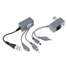 CCTV Camera Audio Video Power Balun Transceiver BNC UTP RJ45 with Audio Video and Power over CAT5/5E/6 Cable(China)