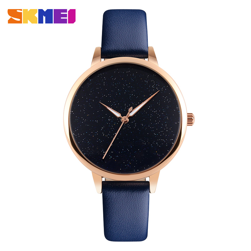 Skmei Cute Moon Stars Design Analog Leather strapWristWatch Women Girl Unique Blooming Glitter Dial Casual Fashion hours  Gift <br><br>Aliexpress