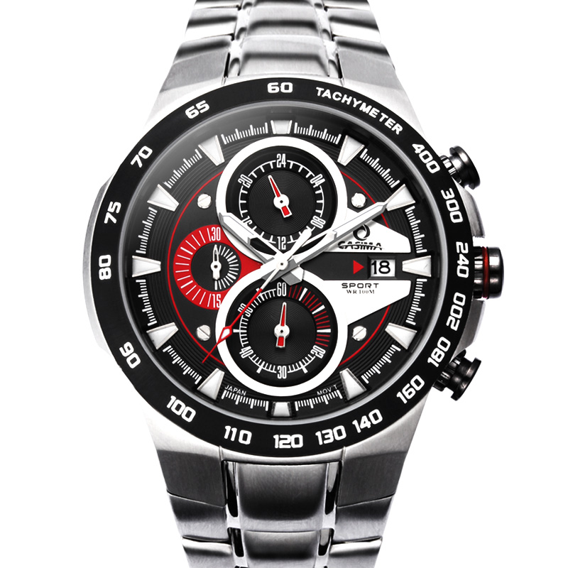 CASIMA fashion casual  stainless steel calendar chronograph three eyes quartz  mens sports watches 8209<br>