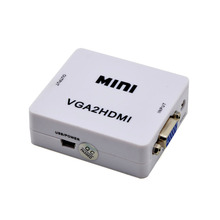 High quality 1080P HD Video MINI Audio VGA To HDMI HD HDTV Video Converter Box VGA2HDMI Converter Adapter For PC Laptop DVD