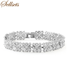 Sellsets New Style Full Crossing Clear Zircon Bracelet & Bangle Fashion Zirconia Gem Stone Jewelry Accessories for Bridal