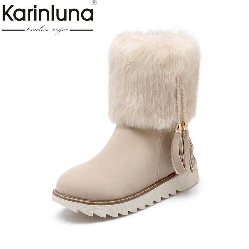 KARINLUNA Big Size 34-43 Fringe Black Women Shoes Woman Leisure Flat Heel Add Warm Fur Plush Winter Snow Boots mid-calf Boots<br>