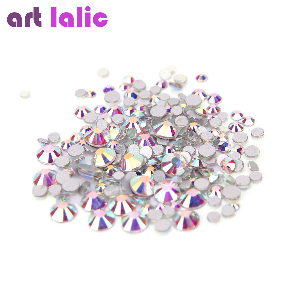 AB Silver Clear Glass Crystal Rhinestones Mix Sizes Nail Art Stones Strass Foil Back For Naill Diamonds Glitter Decoration Tips(China)