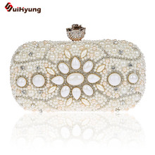 New Women Hand-beaded Clutch Fashion Flower Diamond Buckle Evening Bag Exquisite Pearl Gemstone Shoulder Bag Party handbag purse