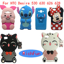 For HTC Desire 530 630 626 628 Hot 3D Cartoon Lucky Cat Stitch minnie Soft Silicon Back Cover Phone Case