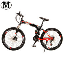 "Mountain bike 24 speed 26"" inch Folding Road Bicycle YM  brand Spring Fork Front and Rear Mechanical Disc Brake bicycle"