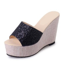 DoraTasia New Glitter Upper Summer High Heel Wedge Shoes Woman Open Toe Platform Gold Silver Black Sandals