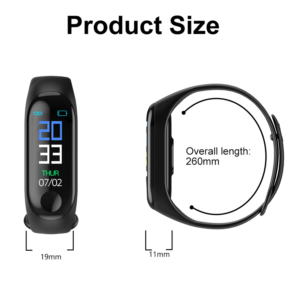 M3 Fitness bracelet pressure measurement Pedometer Fitness tracker Heart rate monitor Oxygen waterproof smart band PK MIBAND 13