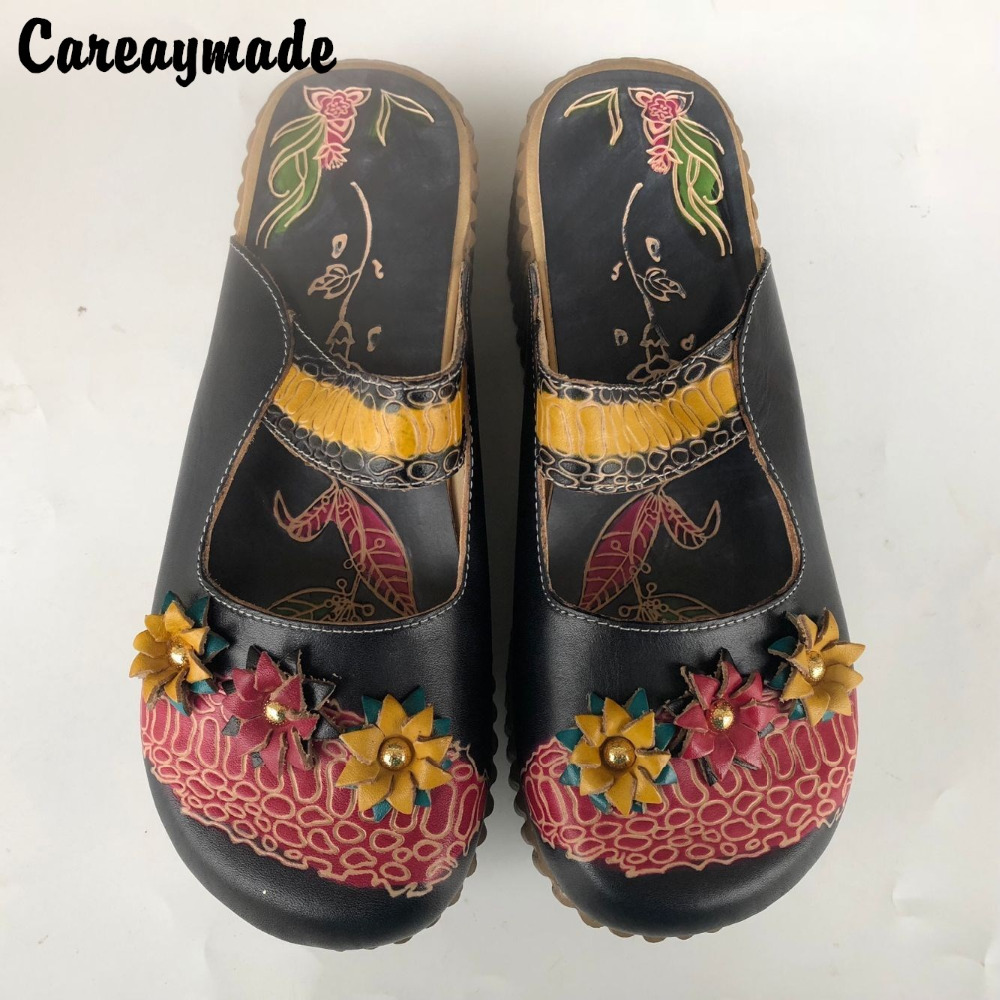 Careaymade-Folk style Head layer cowhide pure handmade Carved shoes,The retro art mori girl shoes,Fashion Candy color slippers<br>
