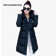 SMFOLW(SMFOLW) 2017 New Fashion Thick Winter Down Jacket Women Slim Hooded Black Long Coats Parka For Student  Cotton Coat D8801