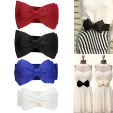 Women's Bowknot Elastic Bow Ultra Wide Stretch Buckle Waistband Elastic Waist Belt Slim Decoration Cummerbund