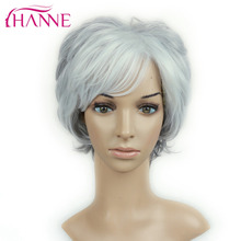HANNE Short Layers Hair Mixed Gray And White Color High Temperature Synthetic Wig Heat Resistant Weave None Lace Wigs For Ladies(China)