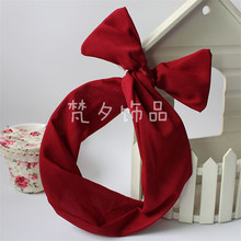 Women Girls Rabbit Bunny Ear Headband Hot Prints Hair Bow Twist Wire Hairband Pure color candy color sweet