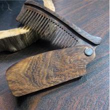 New Arrival Black Sandalwood Fine Tooth Pocket Folding Comb All Hair Types Beard Mustache Brush(China)