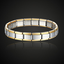 gold with silver Color popular style stainless steel bracelet letter nomination jewelry stretch bangle for men gifts 2205100174(China)