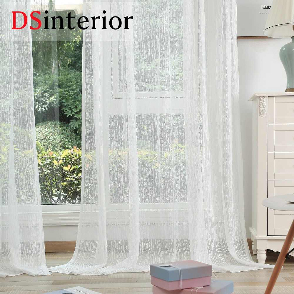 DSinterior high quality luxury white tulle sheer curtain for bedroom or living room window