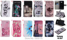 Cartoon Elephant Tower Butterfly Wallet Leather Pouch Case For Samsung Galaxy S8 Plus 2017 J5 J3 J7 A3 A5 Cat Stand Cover 50pcs