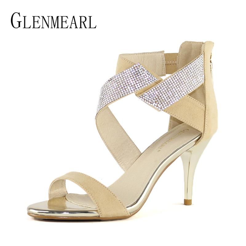 Brand Women Sandals High Heels Shoes Summer Peep Toe Ankle Wrap Shoes Woman Rhinestone Plus Size Thin Heel Wedding Sandals Black<br>