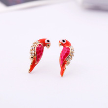 2016 New Fashion Charm Crystal Earrings Animal Red Leiothrix Bird Stud Earrings Valentine's Day Good Gift Lady Girl Les Jewelry