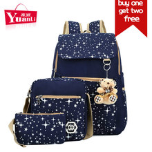 3 Pcs/Set Women Composite Bags Sky Stars Prints Travel Bag for Teenagers Girls Schoolbag Two Free Toy Bear Purse Laptop Daypack