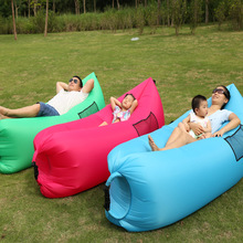Portable Outdoor or Indoor Wind Bed Lounger, Air Bag Sofa, Nylon Fabric Bean Bag, Air Sleeping Sofa Couch, Lazy Bed for Camping