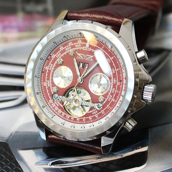 Amazing! Red !!!Dial AUTO Tourbillon Mens Leather Watch<br>