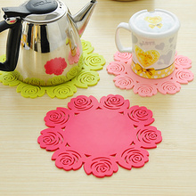 5pcs Creative flower heat insulation cup mat round Silicone coaster placemats for table  kitchen accessories