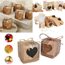 10Pcs Love Rustic Kraft Bark Candy Box Chic Vintage Wedding Favor Boxes Surprise Gifts Storage Box DIY Wedding Party Decoration
