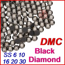 SS6 10 16 20 30 HIgh quality Crystal DMC Hot Fix Rhinestone Black Diamond Flatback Loose Strass Beads Jewelry for Women Clothes