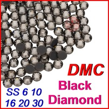 SS6 10 16 20 30 HIgh quality Crystal DMC Hot Fix Rhinestone Black Diamond Flatback Loose Strass Beads Jewelry for Women Clothes(China)