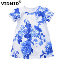 VIDMID Flowers Girls Dresses Toddler Children Clothing baby Brand Kids Clothes kids short Sleeve Vintage Fashion - Official Store store