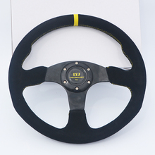 350mm Flat Game Steering Wheel Suede Leather Sport Car Steering Wheel