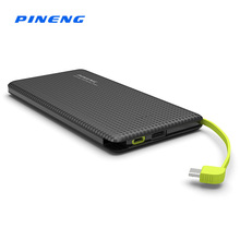 Original Ultra Slim Pineng Power Bank 5000mAh USB Built-In Charging Cable External Battery Charger for iPhone 6 7 Samsung Xiaomi(China)