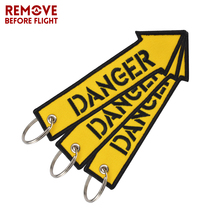 Remove Before Flight Fashion Key Chain Keychain for Motorcycles and Cars Key Tag Embroidery DANGER Key Fob OEM Keychain 3PCS/LOT