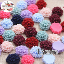 50pcs 12mm vintage Mixed Color flower resin flatback cabochon DIY jewelry/phone decoration No Hole(China)