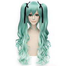 Free Hair Cap + Vocaloid Miku Cosplay Wigs With Two Ponytails Costume Lolita Party Wig (curly green)
