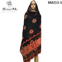 BM253!New African scarfs, new design muslim embroidery women cotton scarf,twin color scraf big embroidery scarf for shawls wraps(China)