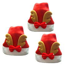 3pcs/lot Creative Santa Claus Hats Red Christmas Elk Caps For Adult And Children XMAS Decor New Year's Gifts Home Party Supplies