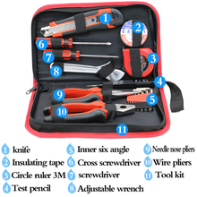 TKDMR 18 piece family tool kit, electrician tool combination sleeve, hardware maintenance kit, canvas bag free shipping