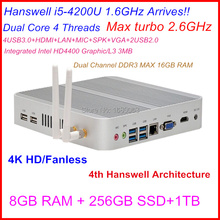 Fanless 4K mini pc I5 4200u with Intel Core i5 4200U 1.6Ghz CPU Haswell Architecture SOC design 8G RAM 256G SSD 1T windows Linux