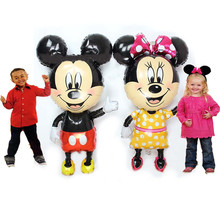 "Giant 45"" Mickey & Minnie Mouse AirWalker Foil Balloons Minnie Mouse Birthday Party Decoration Kids Mickey Party Suppliers Kids(China)"