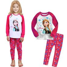 Princess Costume Girls Sleepwear Long Sleeve Cotton Tops Pants Cartoon Kids Baby Pajamas Children Clothing Set Pijamas