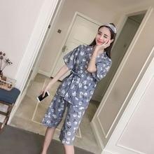 LISM Female summer 6535 knitted Japanese kimono pajamas girls students cute  cotton b7abd5d16