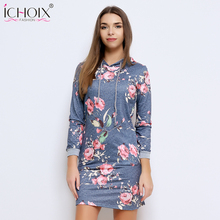 2017 Autumn Winter Women Mini Dresses Rose Print Long Sleeve Pullovers Dress 2017 Female New Casual Hooded Sweatershirt Dress(China)