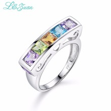 l&zuan Colorful Stone Prong Setting Ring 925 Sterling Silver 1.03ct Amethyst Citrine Kyanite Ring Jewelry Jewellery