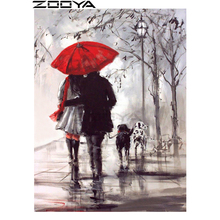 ZOOYA Round Diamond Painting 5D Embroidery Diamond Mosaic Pattern Rhinestone Painting Home Decor Couple Lovers Red Umbrella R331(China)