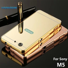 VOONGSON M5 Case For Sony Xperia M5 Dual Cases Bumper Golden plating Aluminum Frame + Mirror Acrylic Back Cover E5603 Case