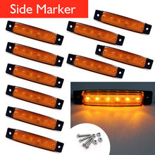 10Pcs 12V 24V 6 LED Side Marker Indicators Lights Lamp For Car Truck Trailer Lorry Amber Clearence Lamp Bus